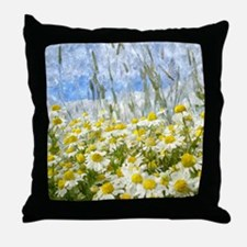 Painted Wild Daisies Throw Pillow