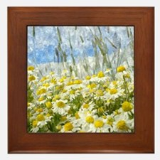 Painted Wild Daisies Framed Tile