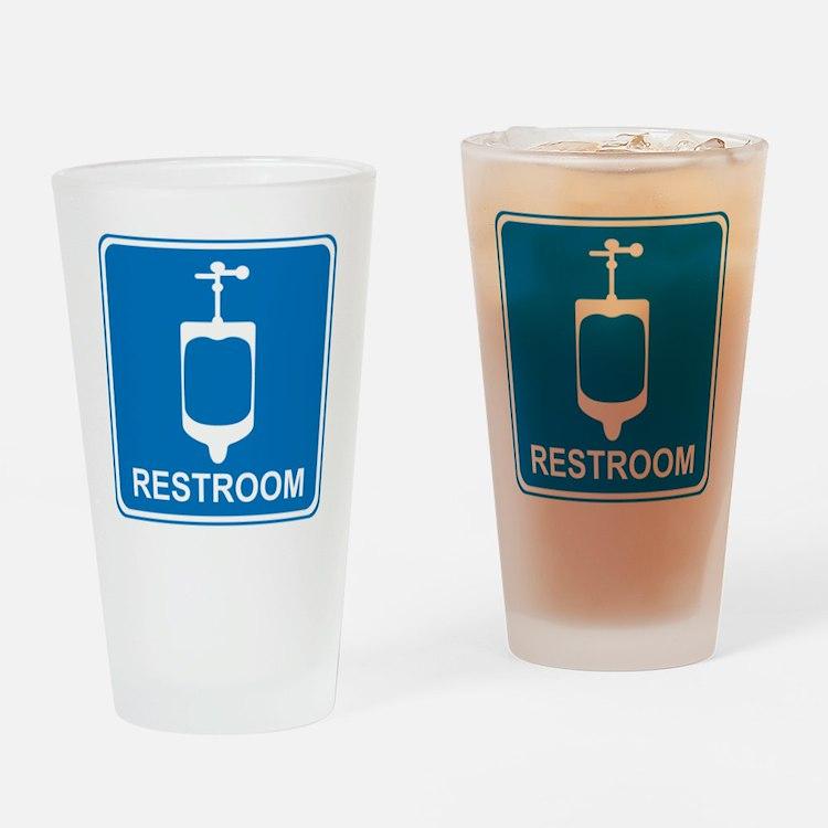 blue_restroom_sign2 Drinking Glass