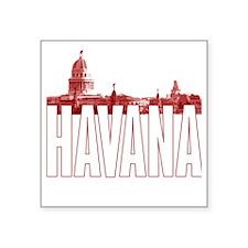 "havana_skyline_red_white Square Sticker 3"" x 3"""