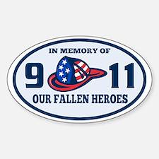 9-11 fireman firefighter hat americ Sticker (Oval)
