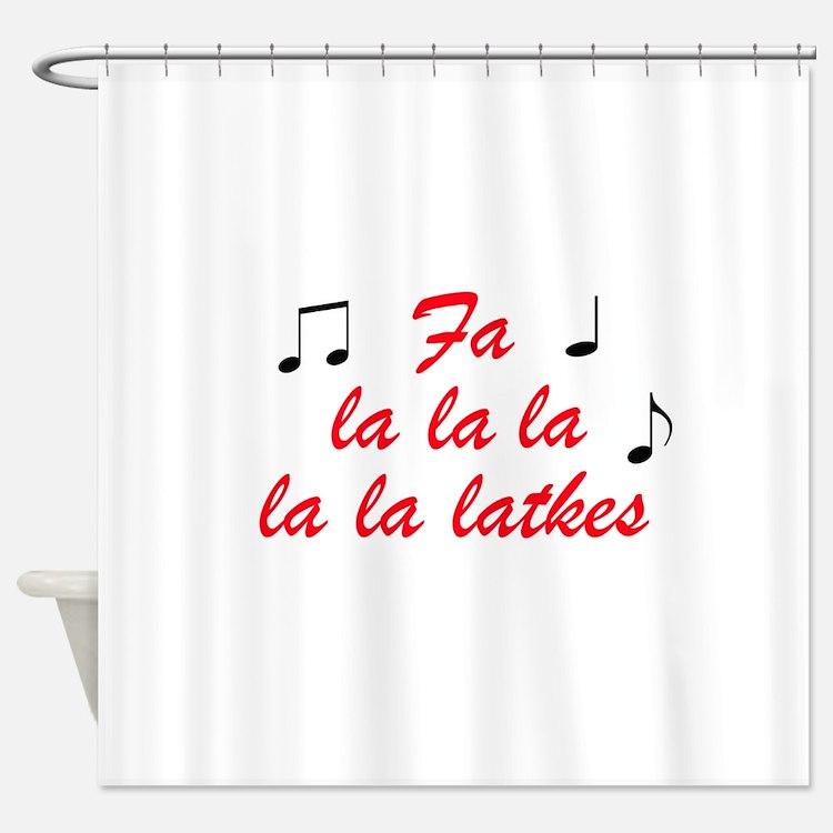 Fa la la la latkes Shower Curtain