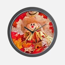 Scarecrow with autumn colors Wall Clock