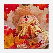 Scarecrow with autumn colors Tile Coaster