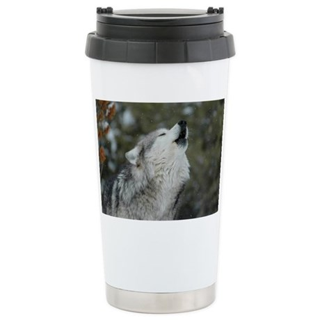 x14 Christmas Wolf Stainless Steel Travel Mug