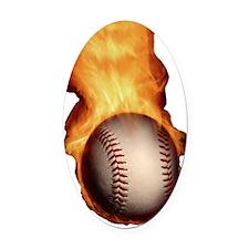 HOT_BASEBALL_FASTBALL_FLAMING_545_ Oval Car Magnet