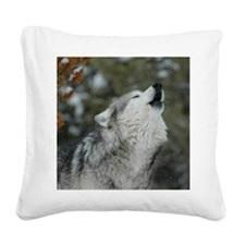x10 Christmas Wolf Square Canvas Pillow