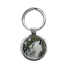 x10 Christmas Wolf Round Keychain