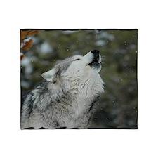 x14blk Christmas Wolf Throw Blanket