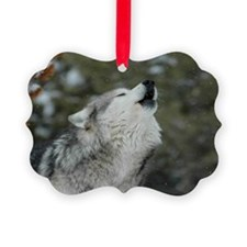 x14blk Christmas Wolf Ornament