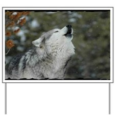 x14blk Christmas Wolf Yard Sign