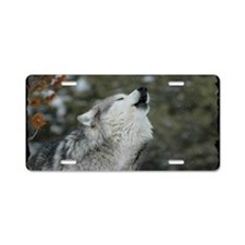 x14blk Christmas Wolf Aluminum License Plate