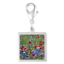 BLUEBONNETS AND FIREWHEELS 2 Silver Square Charm