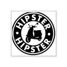 """hipster2_blacck Square Sticker 3"""" x 3"""""""