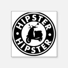 "hipster2_blacck Square Sticker 3"" x 3"""