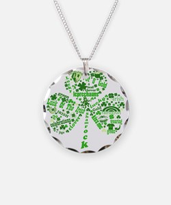Irish Shamrock Necklace Circle Charm