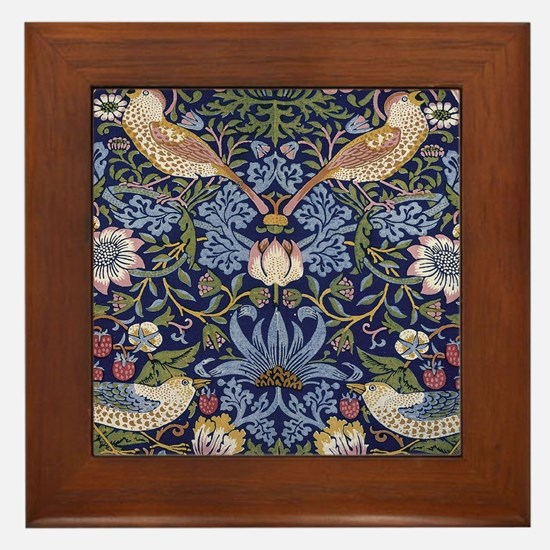 William Morris Strawberry Thief Framed Tile
