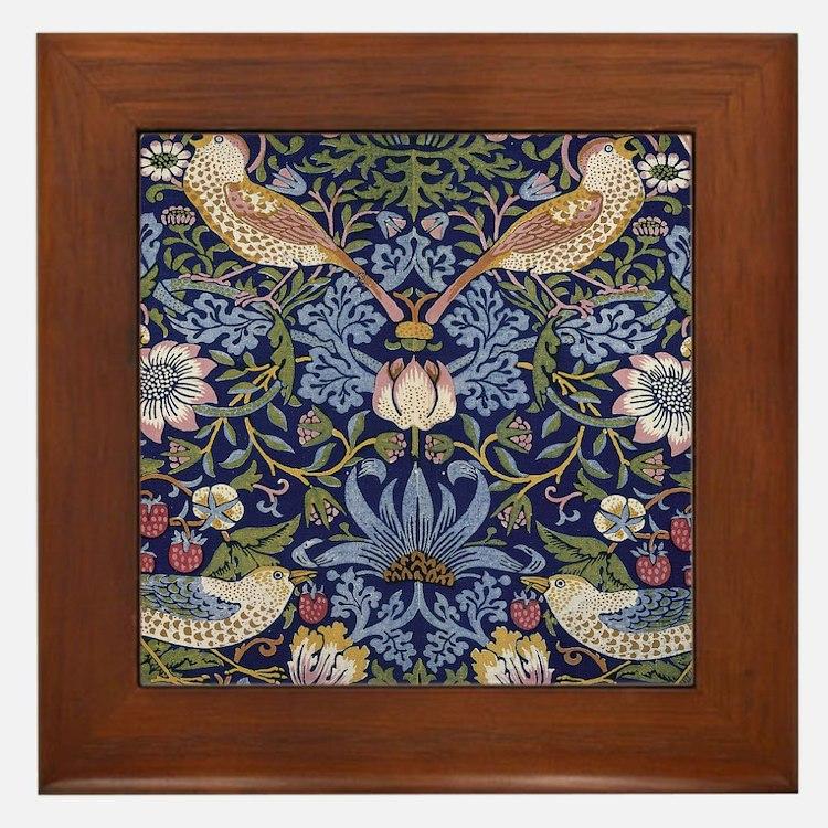 William Morris Strawberry Thief Framed Tile