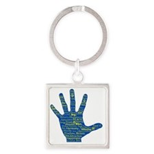 Hand Affirmations Square Keychain