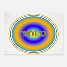 YOLO Blue and Gold Halo You Only Live Once 5'x7'Ar