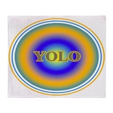YOLO Blue and Gold Halo You Only Live Once Throw B