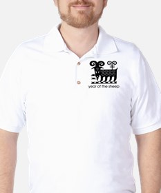 Year of the Sheep B & W. Golf Shirt