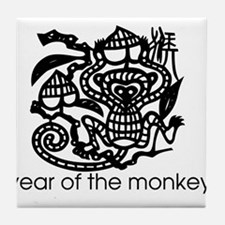 Year of the Monkey Black and Tile Coaster