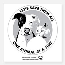 "Let's Save Them All - gr Square Car Magnet 3"" x 3"""