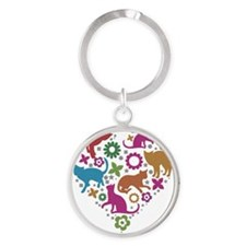 HEART OF CATS Round Keychain