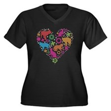 HEART OF CAT Women's Plus Size Dark V-Neck T-Shirt
