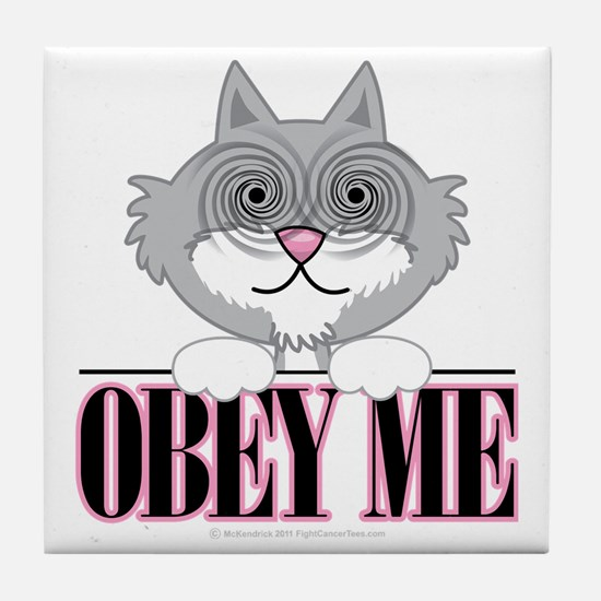 Obey-Me-Cat Tile Coaster