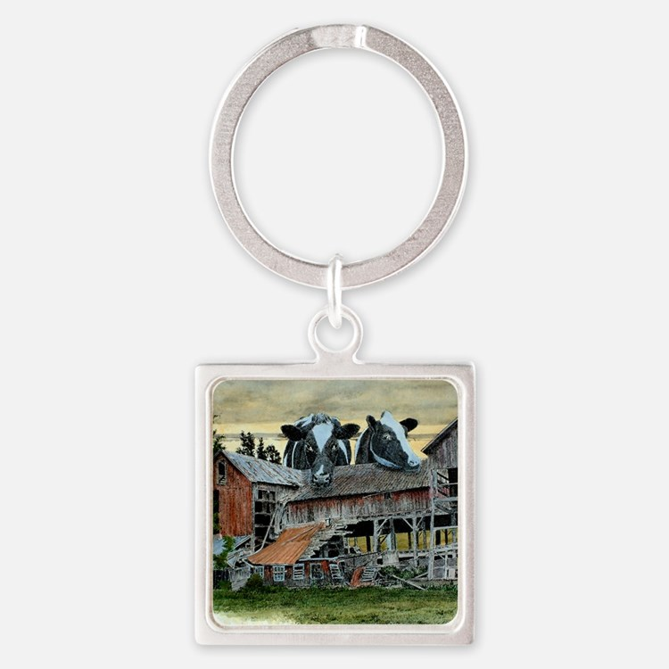 CloverSunset2 Square Keychain