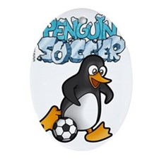 PENGUIN SOCCER t-shirt Oval Ornament