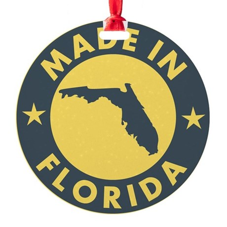 2-Made-In-fLORIDA Round Ornament