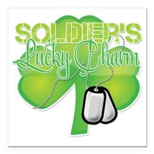 """LuckyCharm_Soldier Square Car Magnet 3"""" x 3"""""""