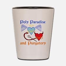 2-poly paradise  purgatory logo flier v Shot Glass