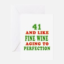 Funny 41 And Like Fine Wine Birthday Greeting Card