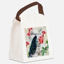 Peacock and roses Canvas Lunch Bag