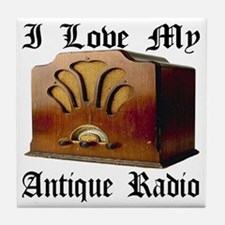 ilovemy_antique_radio Tile Coaster