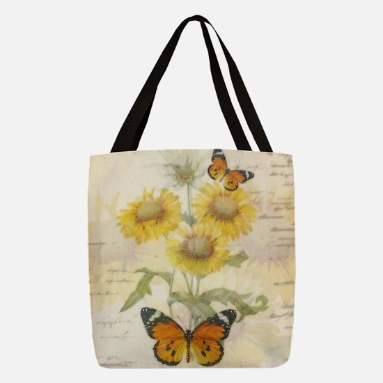 Sunflowers and butterflies Polyester Tote Bag