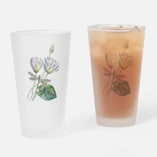Lotus and dragonfly Drinking Glass