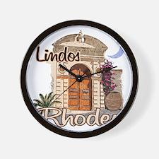 rhodes_lindos_t_shirt Wall Clock
