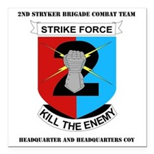 """DUI-2ND IN DIV-2 BCT HQ  Square Car Magnet 3"""" x 3"""""""