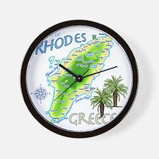 rhodes_map_t_shirt Wall Clock