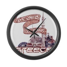 rhodes_old_town_t_shirt Large Wall Clock