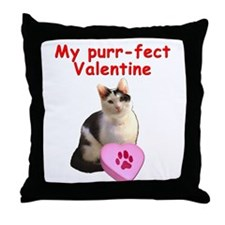 Purrfect Valentine Cat Throw Pillow