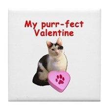 Purrfect Valentine Cat Tile Coaster