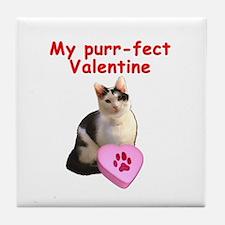 Purrfect Valentine Cat Tile Coaster