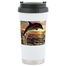 ENAMEL DOLPHIN AT SUNSET  BLANK Travel Mug