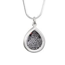 chicken2 Silver Teardrop Necklace